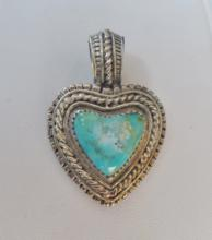 Turquoise & Sterling Heart Pendant