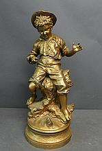 Figural Spelter Statue of Young Boy