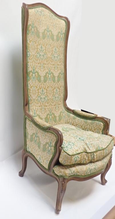 green upholstered high back arm chair. Black Bedroom Furniture Sets. Home Design Ideas