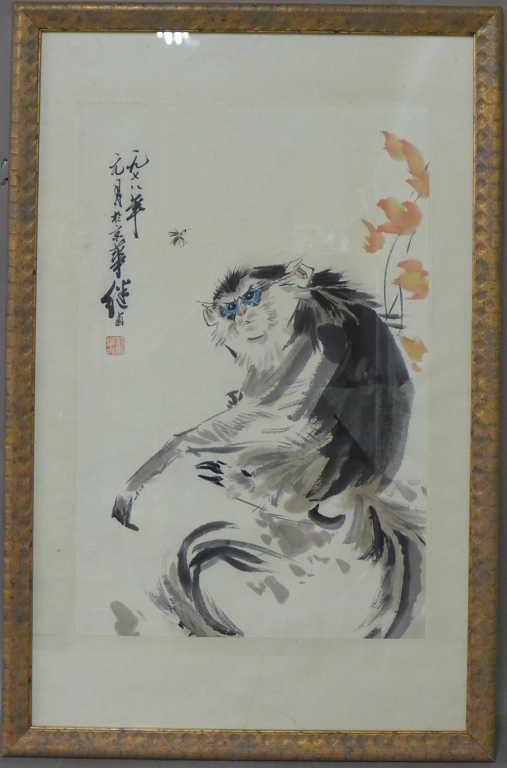 Chinese Watercolor of Monkey