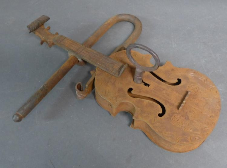 Large Figural Gate Lock in the form of a Violin