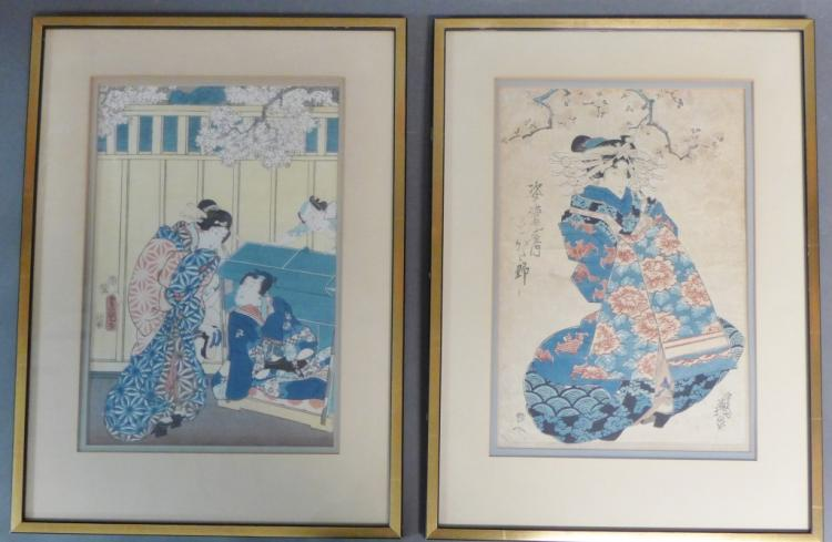 Pair Japanese Woodblock Prints