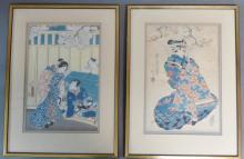 Pair Japanese Woodblock Prints