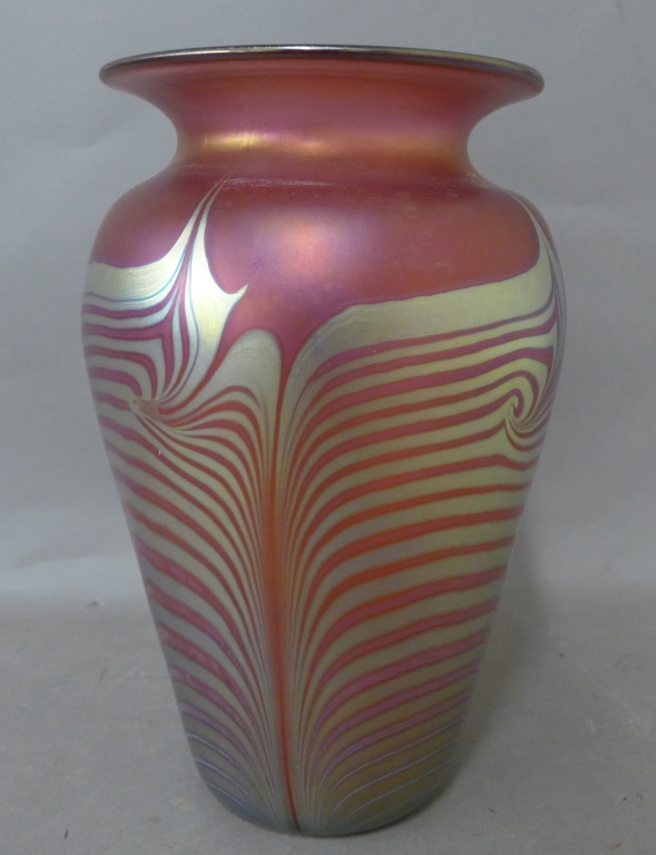 Modern Pink Iridescent Art Glass Vase