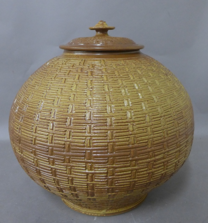 Basket Weave Impressed Ceramic Covered Jar