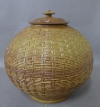 Basket Weave Impressed Ceramic Covered Jar