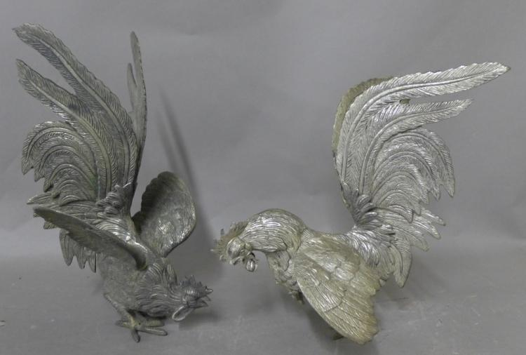 Pair Silver Plated Table Birds, 20th C.