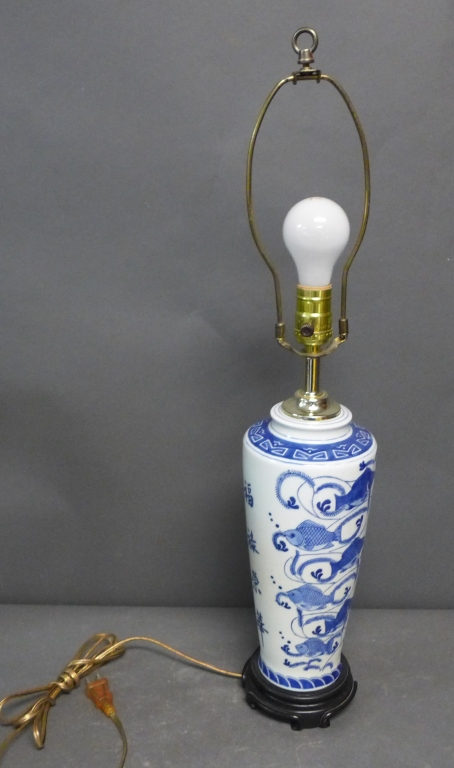 Blue and White Vase as Lamp