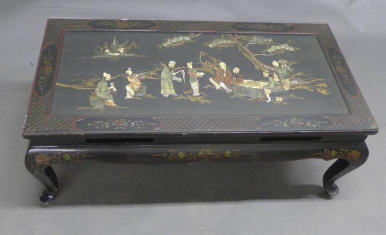 Chinoiserie Lacquer & Mother of Pearl Inlay Table