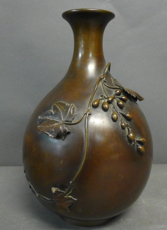 Patinated Bronze Vase w/ Applied Detail