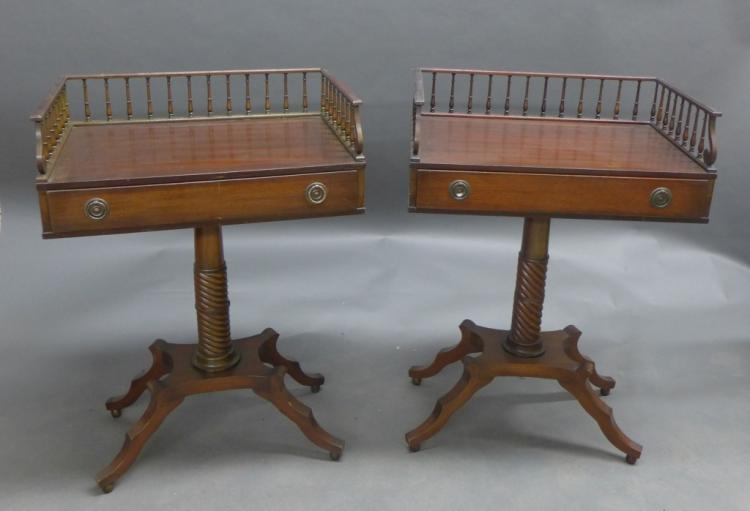 Pair Antique Gallery End Tables