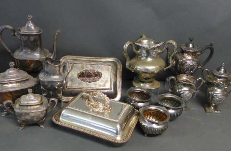 Large Silver Plate Grouping