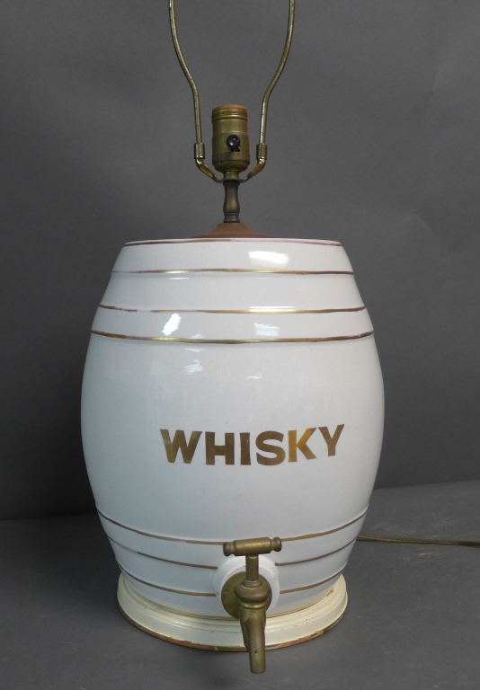 Whiskey Porcelain Barrel as Lamp