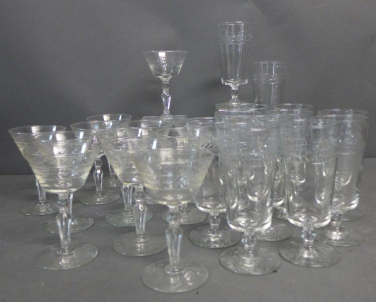 Set of 24 Crystal Glass Stemware