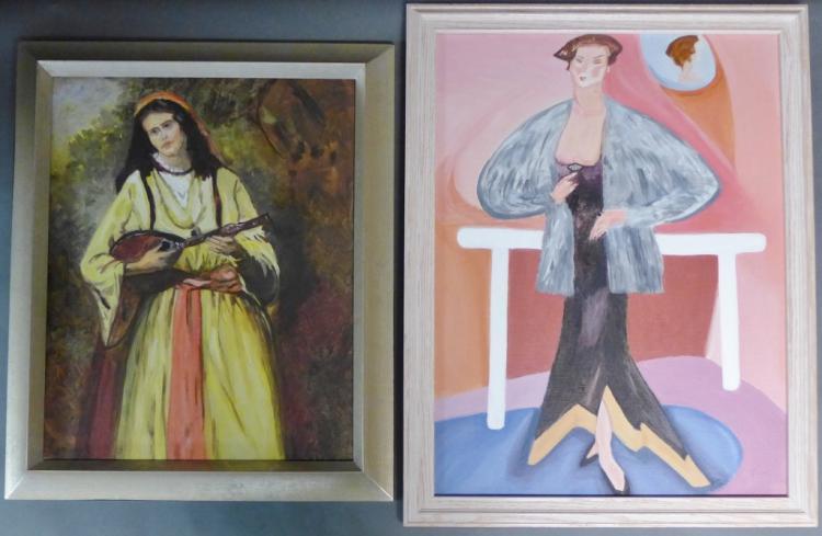Pair 20th Century Figural Paintings