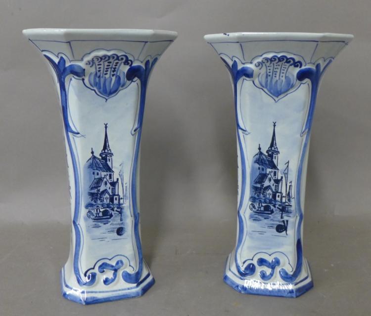 Pair Delft Pottery Vases