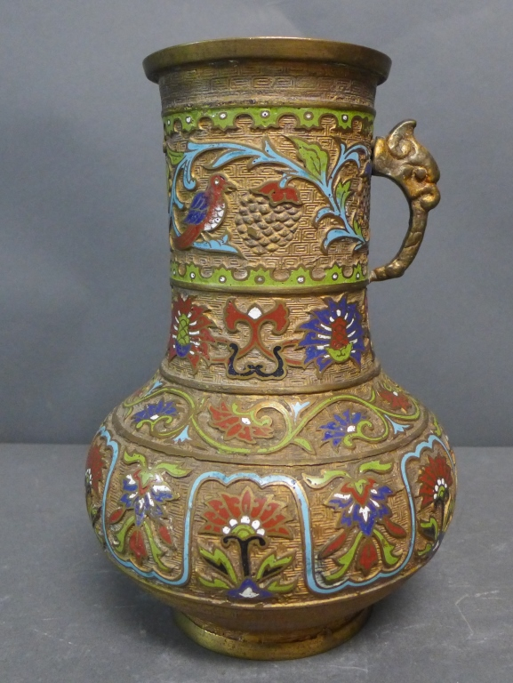 Antique Japanese Bronze Champleve Vase