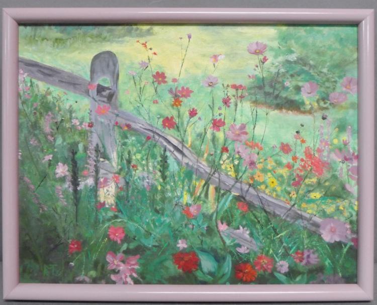 Original Floral Landscape Painting