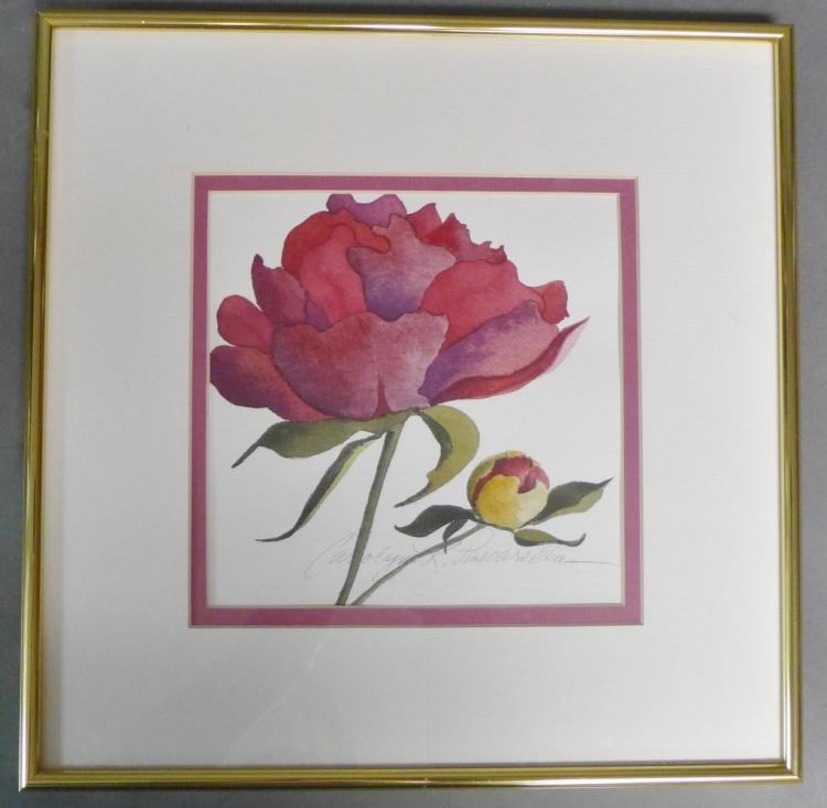 Signed Watercolor of Rose