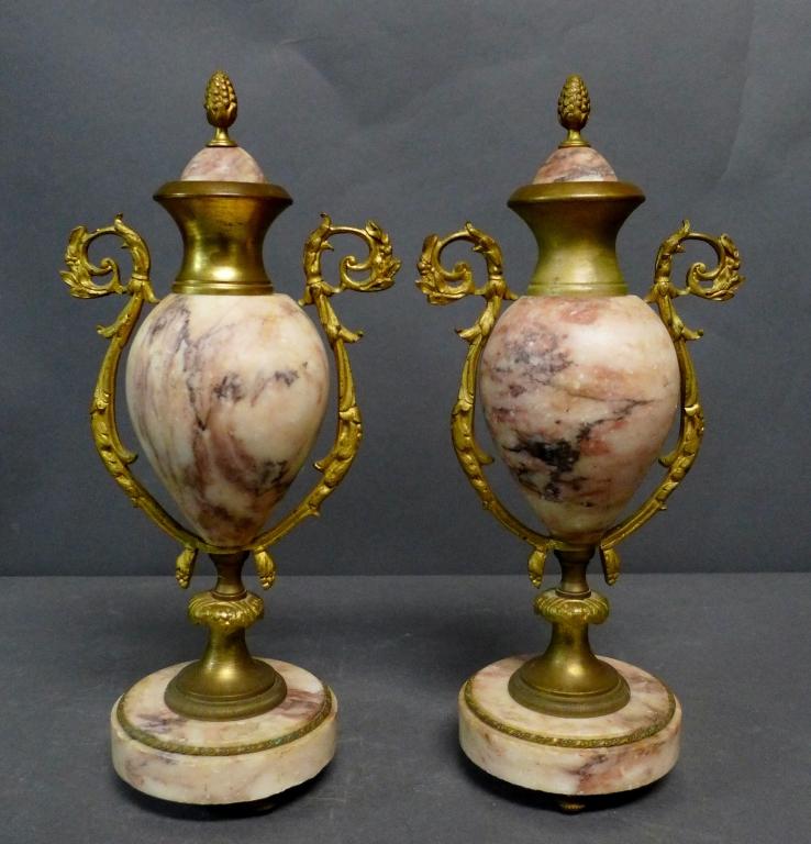 Pair of Gilt Bronze & Marble Cassolette Urns