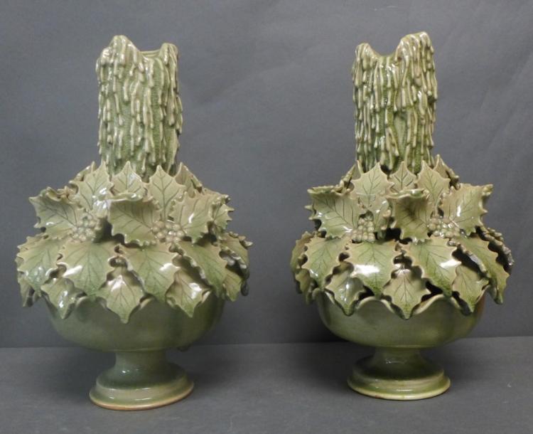 Pair Green Glazed Candle Sticks