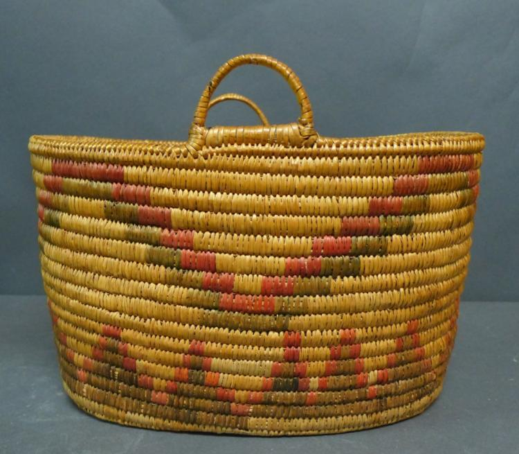 Native American Polychrome Oval Handled Basket