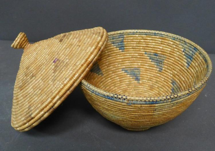 Native American Polychrome Coiled Covered Basket