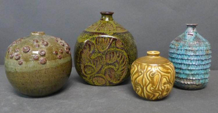 Grouping of Paul Bellardo Glazed Ceramic Vases