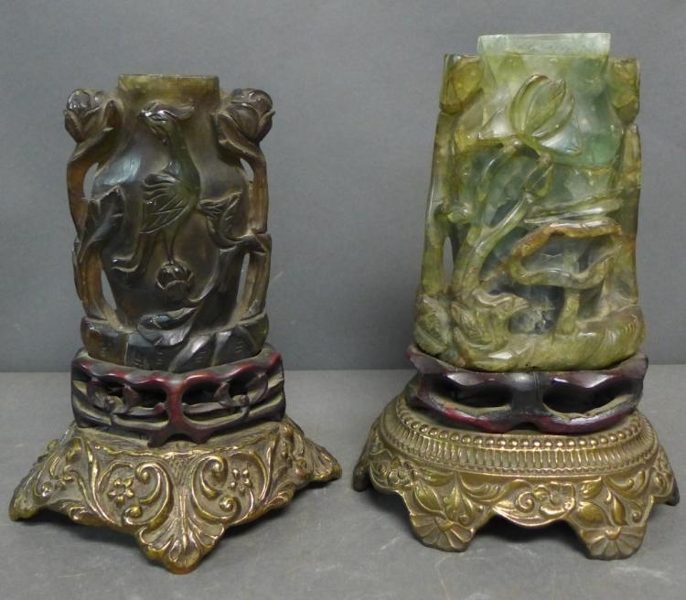 Pair Chinese Carved Jade Vases as Lamps