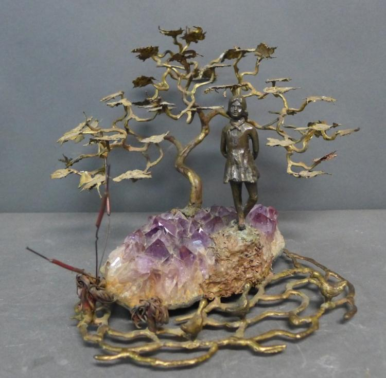 Amethyst and Bronze Figural Sculpture
