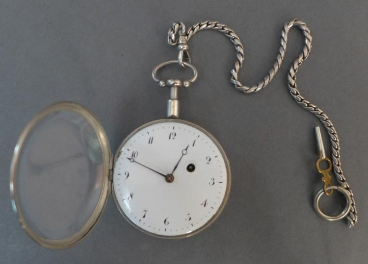 18th Century Silver Pump 1/4 Repeater Pocket Watch