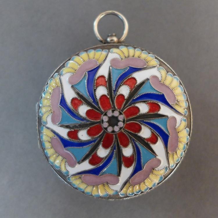 Silver & Enamel French 8-Day Pocket Watch