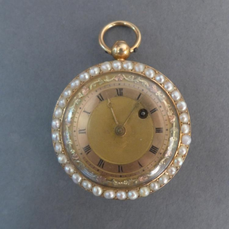 Gold & Pearl Open Face Miniature Pocket Watch