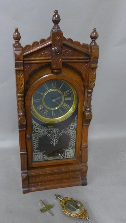 F. Kroeber Carved Walnut Mantel Clock