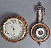 Two Barometers in Walnut Cases