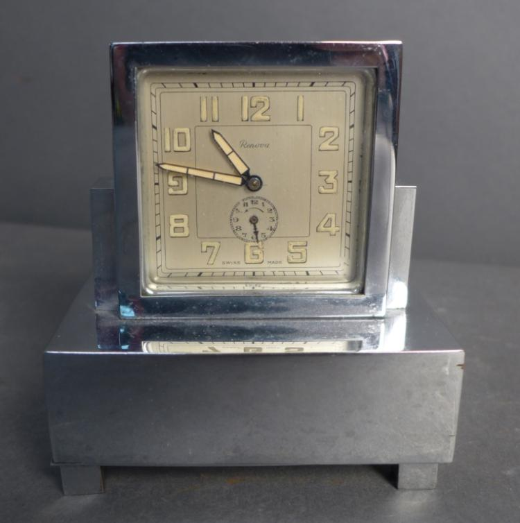 Vintage Renova Swiss Music Box Alarm Desk Clock