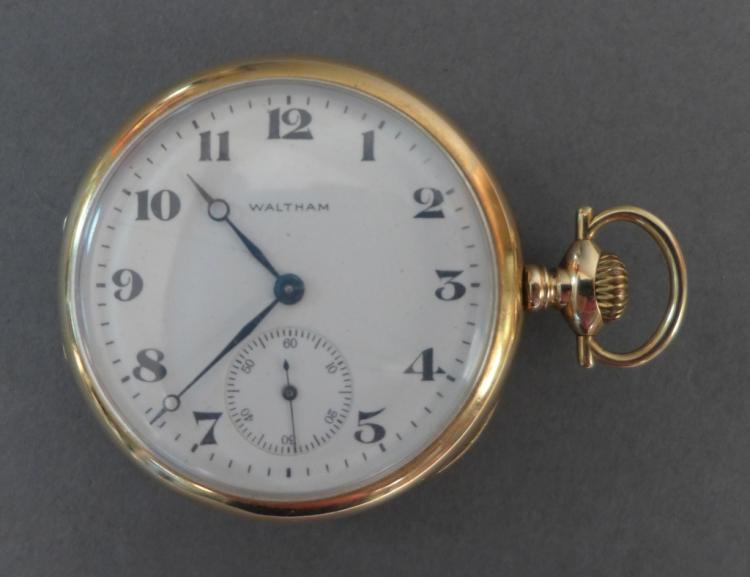 14K Sidewinder Waltham Open Face Pocket Watch