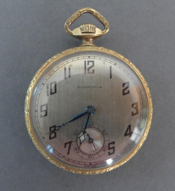 Eldridge 14k Gold Open Face Pocket Watch