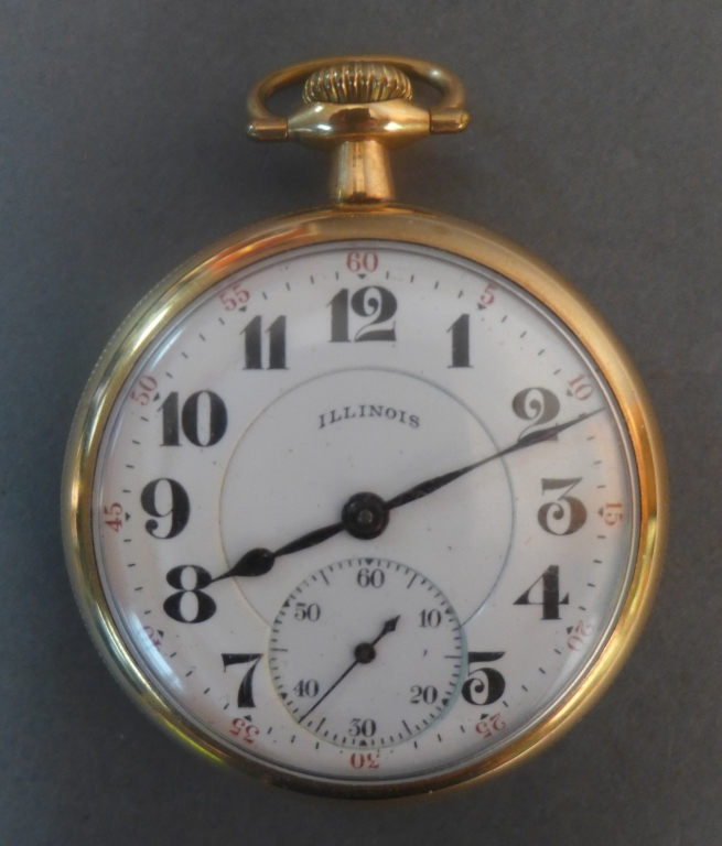 Illinois Open-Face Gold Pocket Watch