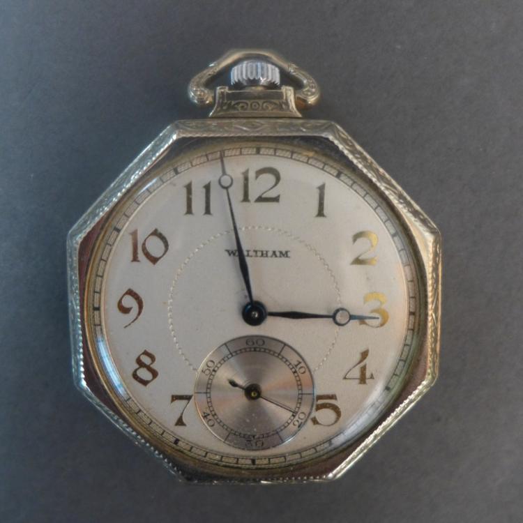 Vintage Gold Waltham Octagon Open Face Pocket