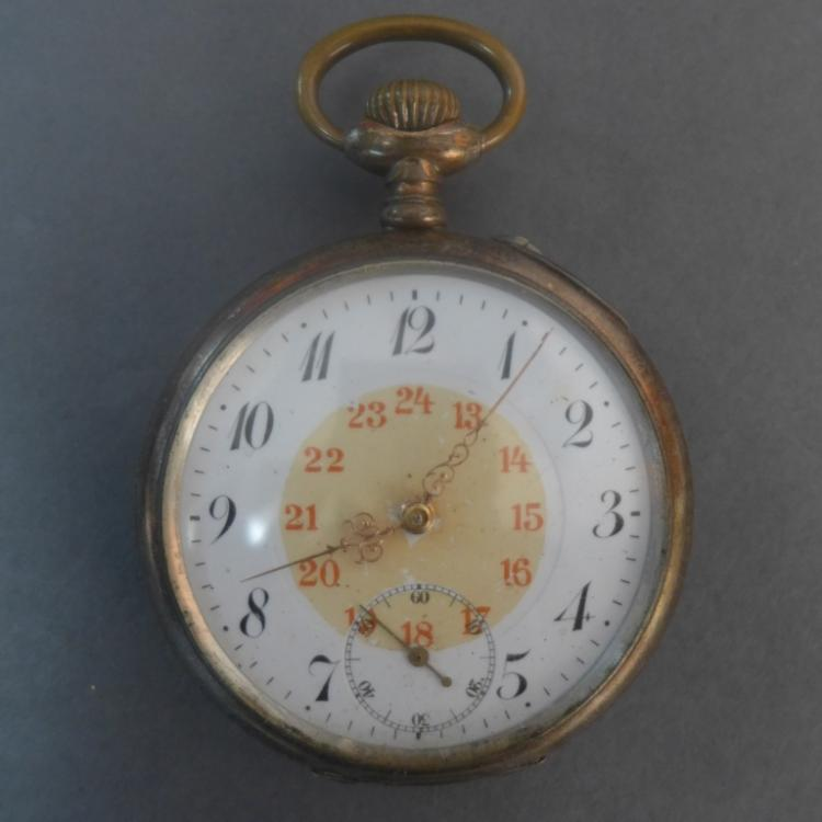Silver Open Face Vintage Pocket Watch