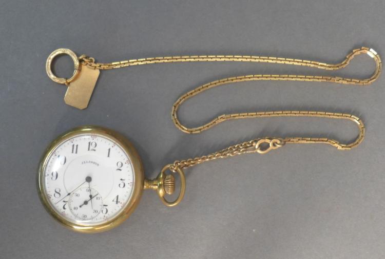 Illinois Open Face SideWinder Pocket Watch w/Chain