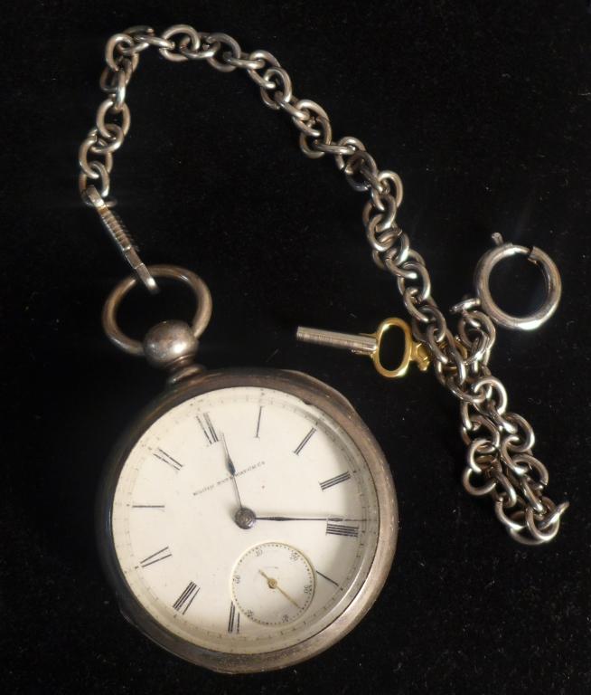 Elgin Open Face Sterling Silver Pocket Watch
