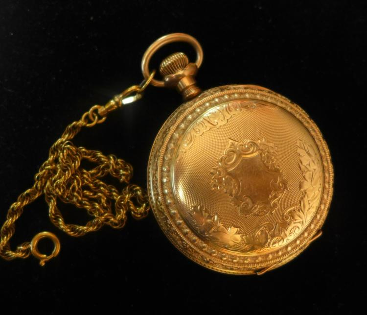 Elgin Open Face Pocket Watch with Chain