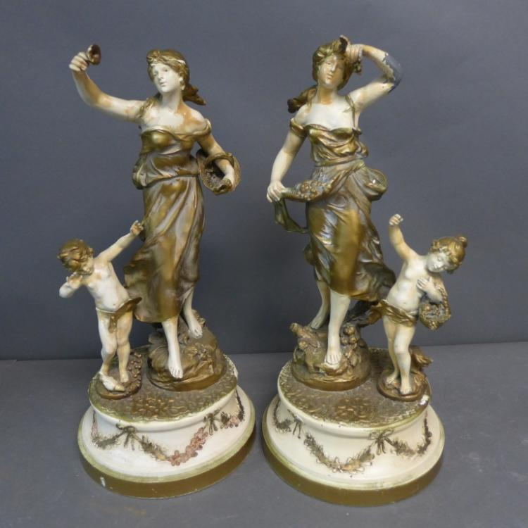Pair Figural Spelter Statues