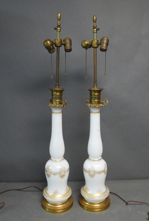 Pair of Empire Style Opaline Glass Lamps