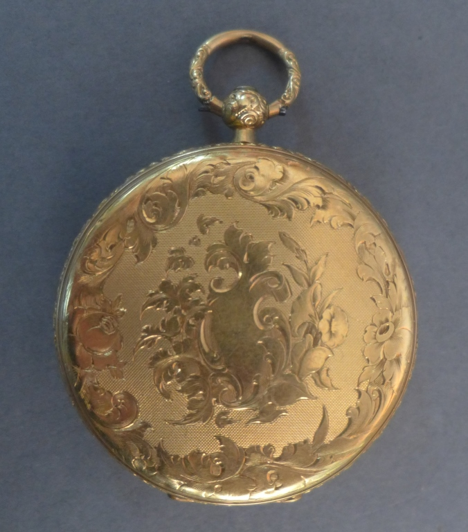 French Open Face Gold Pocket Watch