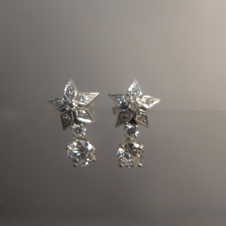 Diamond and White Gold Star Earrings