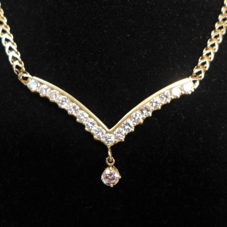 Elegant V-Shaped Diamond & Gold Necklace