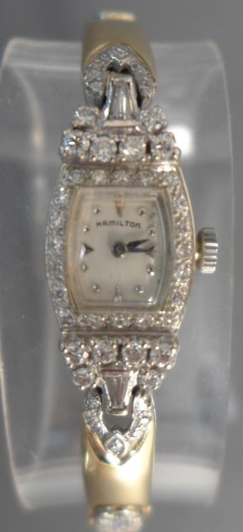 Ladies Hamilton Gold & Diamond Wrist Watch